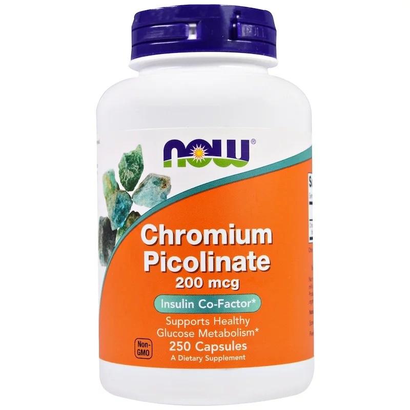 Now Foods Chroom Picolinaat, 200 µg, 250 vegetarische capsules