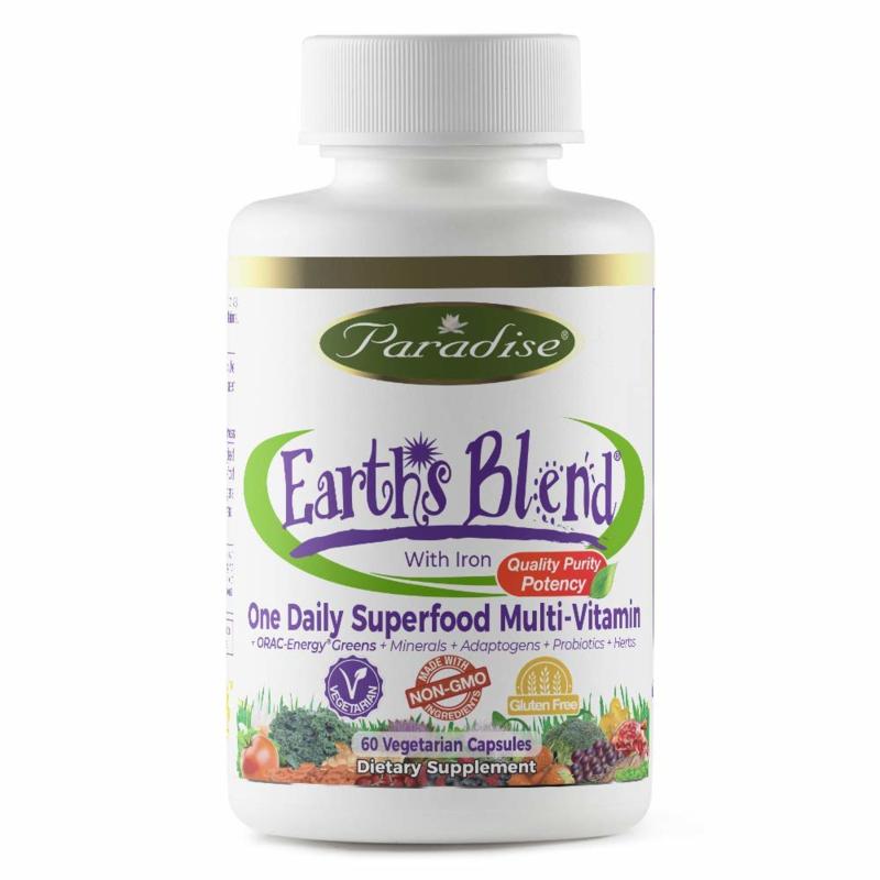 Paradise Herbs, ORAC-Energy, Earth's Blend, Dagelijkse één Superfood Multivitamine, 60 Vegetarische Capsules, met ijzer