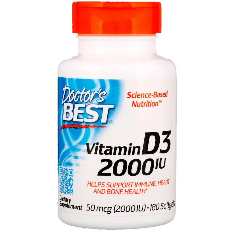Doctor's Best, Vitamine D3 2000 IE, 180 softgels van rundergelatine