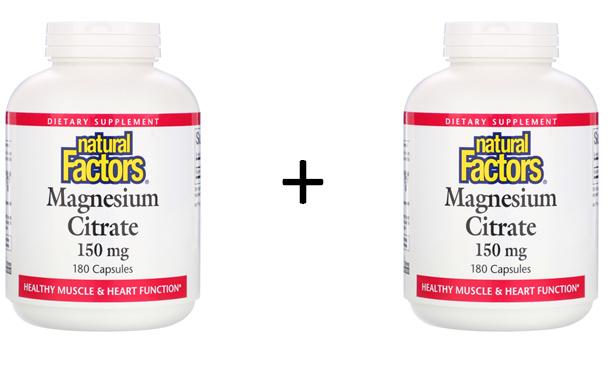 2x Natural Factors, Magnesium Citraat, 150 mg, 360 capsules