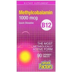 Natural Factors, Vitamine B12, Methylcobalamine 1000 mcg, 90 smelttabletten