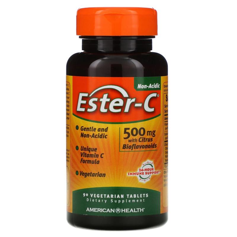 American Health, Ester-C, 500 mg met 200 mg bioflavonoïden, 90 vegetarische tabletten
