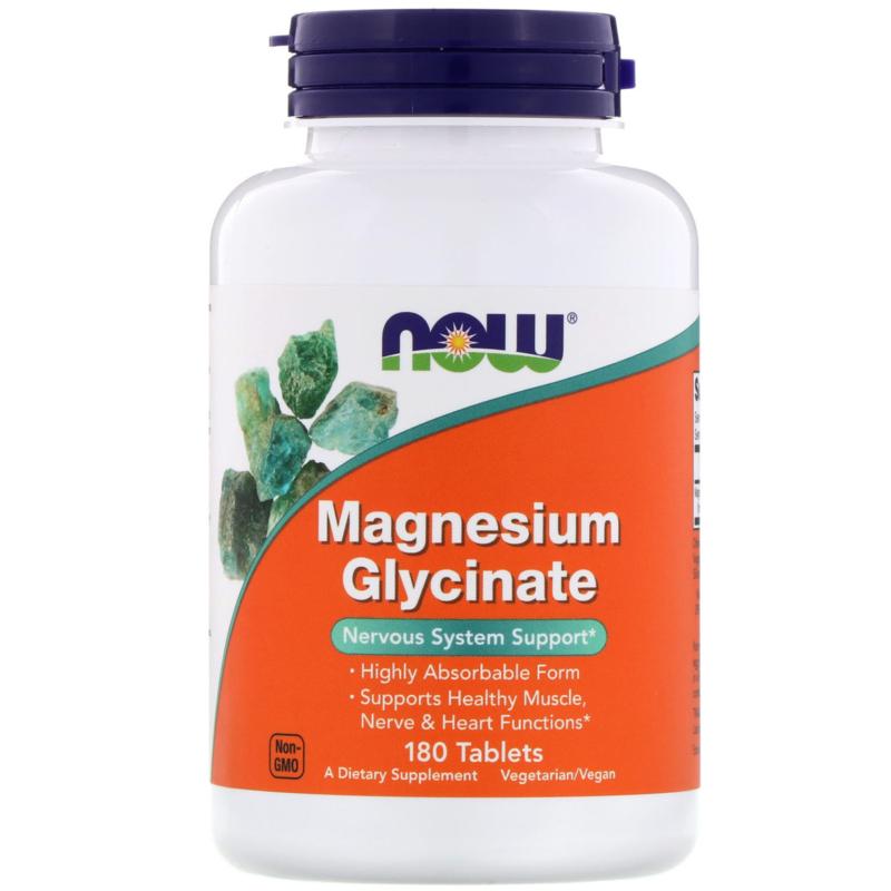 Now Foods Magnesium Glycinaat, 100mg bisglycinaat, 180 vegetarische tabletten