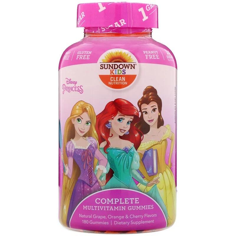 """Sundown kindermultivitamine,  vanaf 2 jaar, 180 multigummies """"Disney Princess"""""""
