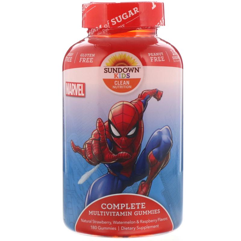 """Sundown, kindermultivitamine,  vanaf 2 jaar, 180 multigummies """"Spiderman"""""""