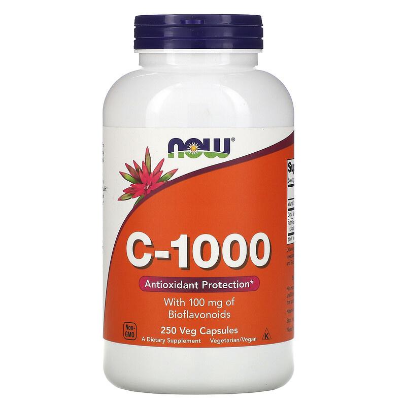 Now Foods, Vitamine C-1000, Met 100 mg Bioflavonoïden, 250 Vegetarische Capsules