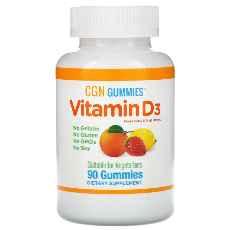 California Gold Vitamine D3, 90 gummies, 1000 IE, sinaasappel- en bessensmaak, vegetarisch