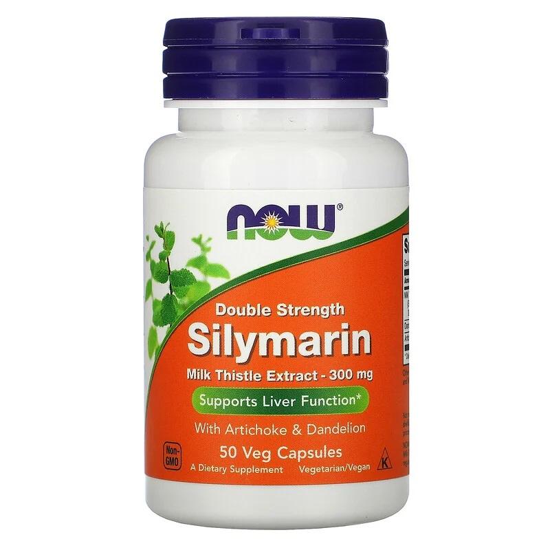 Now Foods Silymarin (Mariadistel) Extract, Double Strength 300 mg, 50 vegetarische capsules, Ondersteunt de reinigende werking van de lever