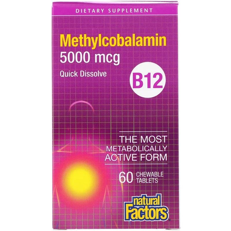Natural Factors, Vitamine B12, Methylcobalamine 5000 mcg, 60 smelttabletten