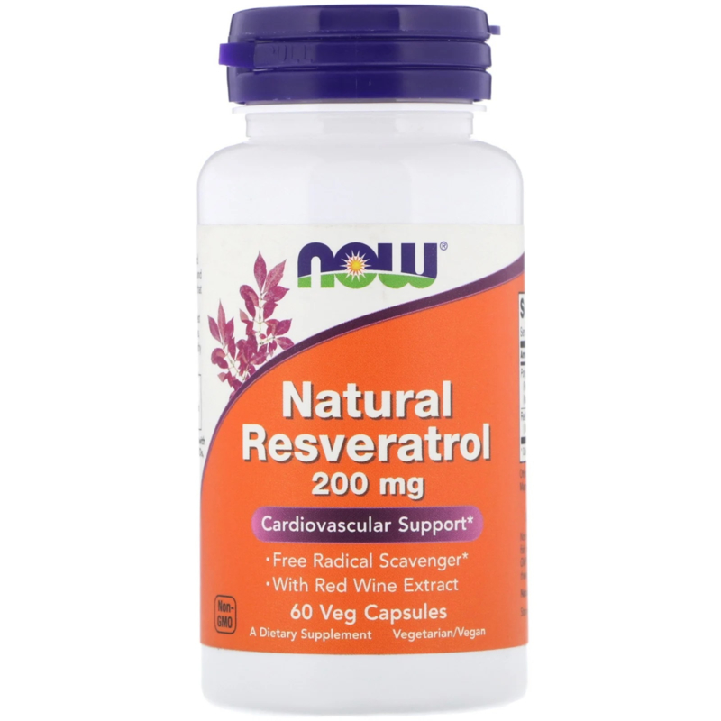 Now Foods Natural Resveratrol 200 mg, 60 vegetarische capsules