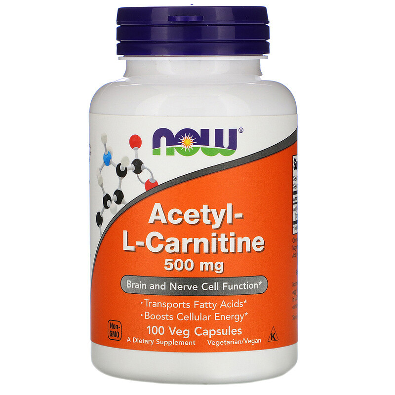 Now Foods Acetyl-L-Carnitine 500 mg , 100 vegetarische capsules
