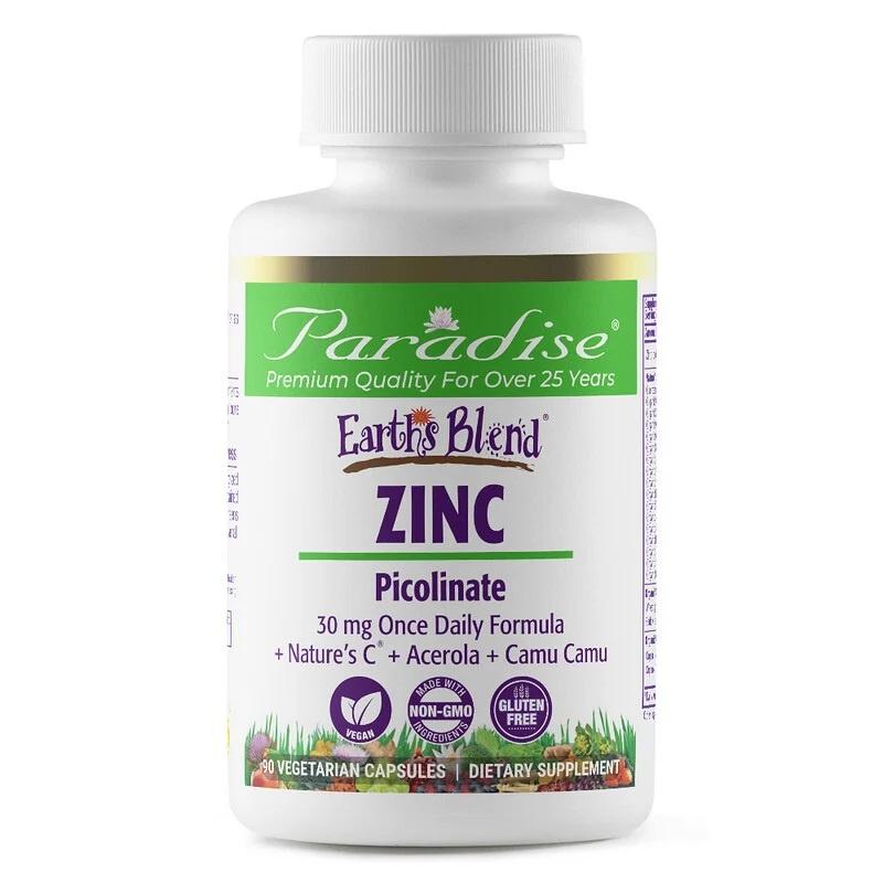 Paradise Herbs, Earths Blend, Zink Picolinaat, 30mg, 90 vegetarische capsules
