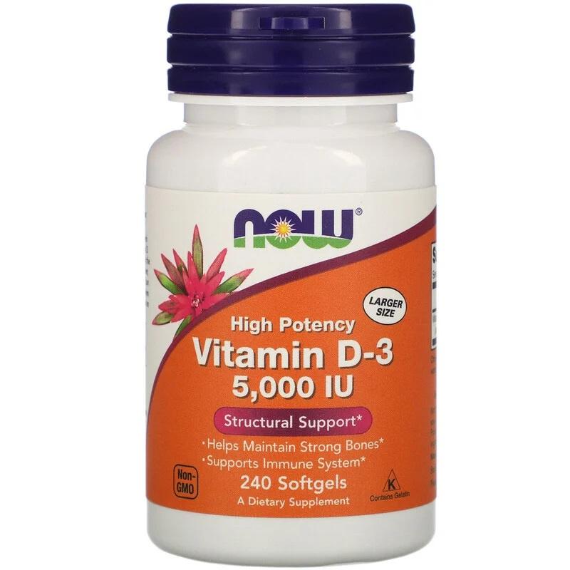 Now Foods, Vitamine D3 5000 IE, 240 softgels van rundergelatine