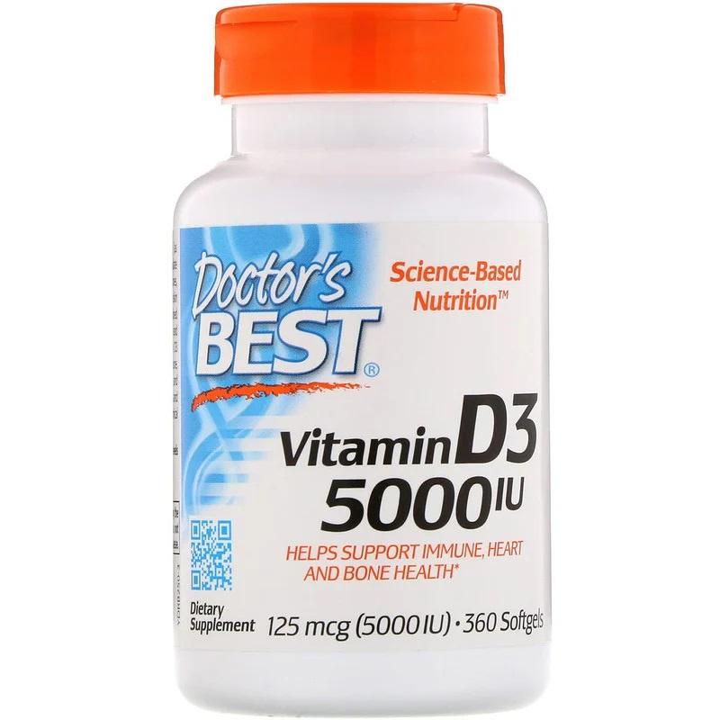 Doctor's Best, Vitamine D3 5000 IE, 360 softgels van rundergelatine