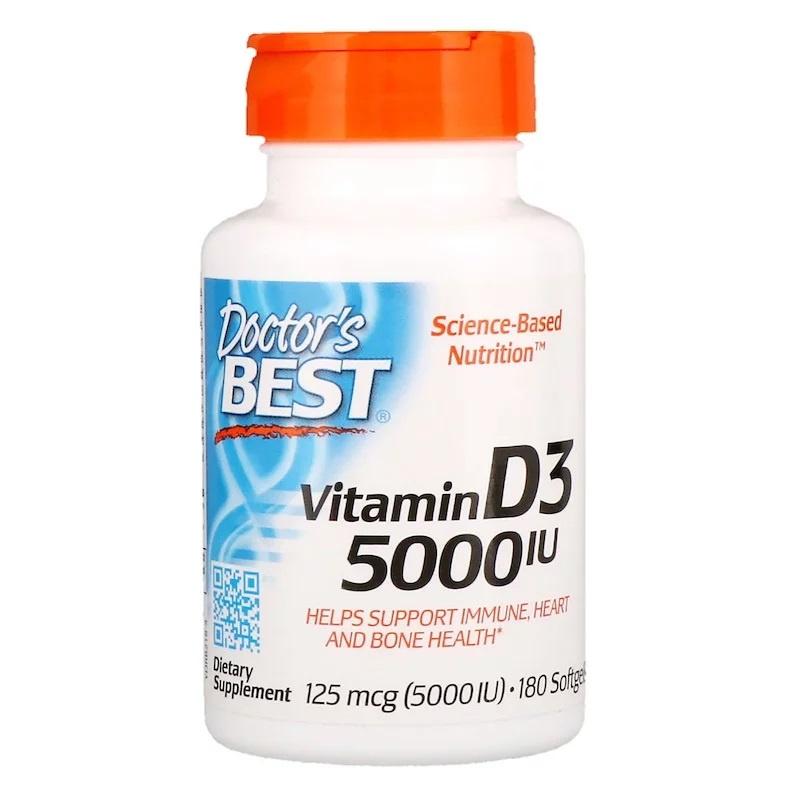 Doctor's Best, Vitamine D3 5000 IE, 180 softgels van rundergelatine
