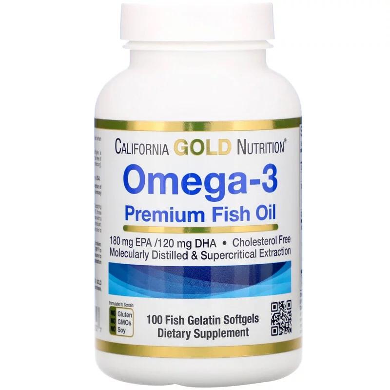 California Gold Omega 3, 180 EPA/120 DHA, 100 softgels van visgelatine