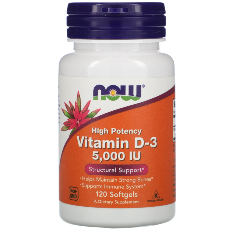 Now Foods Vitamine D3 5000 IE, 120 softgels van rundergelatine