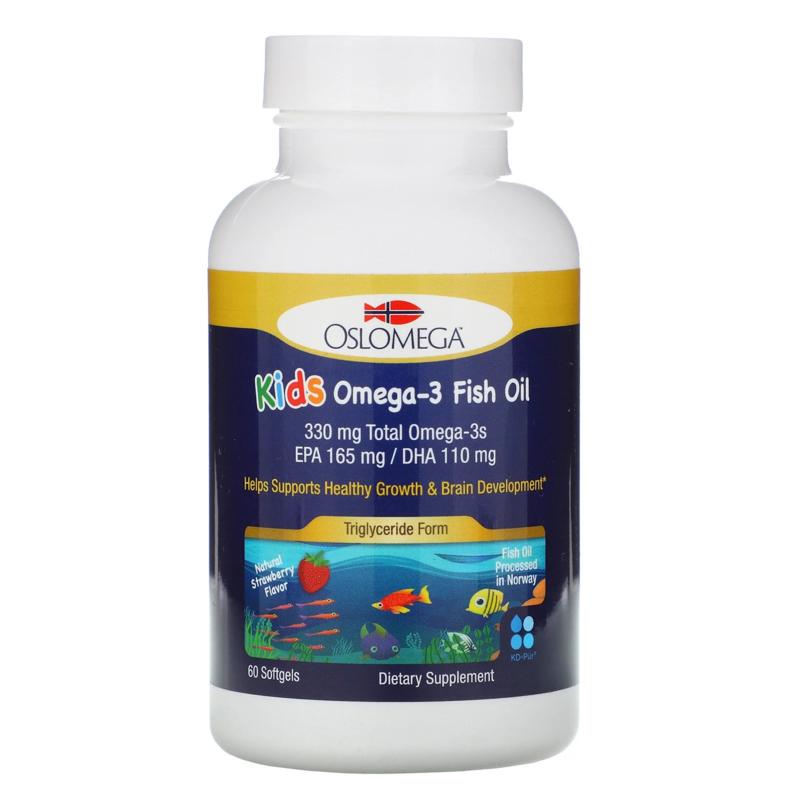 Oslomega, Noorse Omega-3 visolie, voor kinderen, Triglyceride vorm, 60 softgels van visgelatine, met aardbeiensmaak