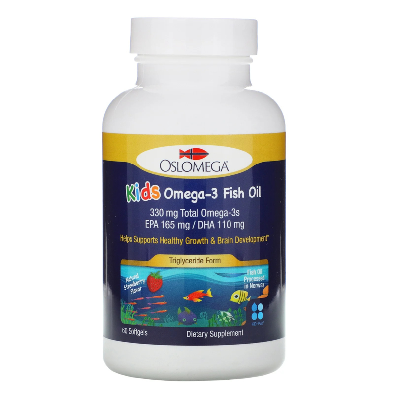 Oslomega, Kids Omega-3, visolie voor kinderen, Triglyceride vorm, 60 softgels van visgelatine, met aardbeiensmaak