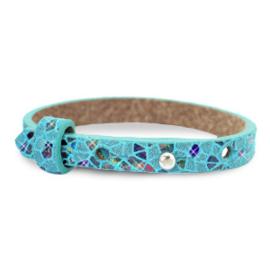 Cuoio armband leer kids mosaic Turquoise