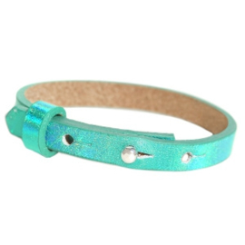 Cuoio armband leer kids Holographic green