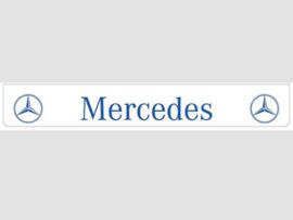 Spatlap achterbumper wit Mercedes met blauwe opdruk