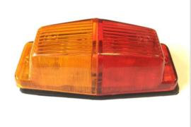 Dubbelbrander met oranje/rood lampglas budget