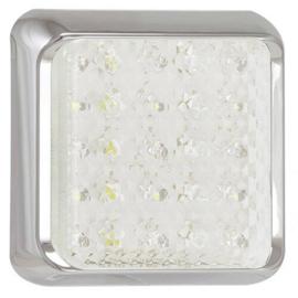 LED achteruitrijlicht met chrome rand 12-24v 10x10cm
