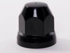 Kunststof wielmoerdop  zwart 33 mm