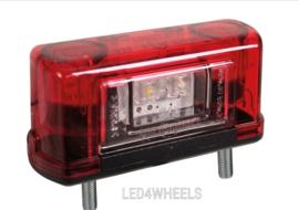 Led kenteken verlichting rood wit 12/24 volt met ekeur
