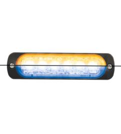 LED FLITSER ORANJE/BLAUW ST6 ZEER PLAT 12-24 VOLT
