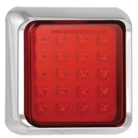 LED mistlicht met chrome rand 12-24v 10x10cm