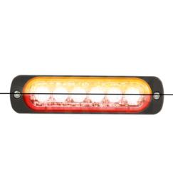 LED FLITSER ORANJE/ROOD ST6 ZEER PLAT 12-24 VOLT
