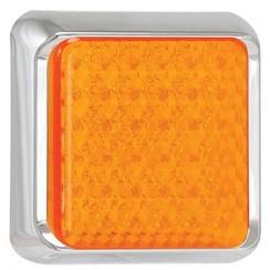 LED knipperlicht met chrome rand 12-24v 10x10cm