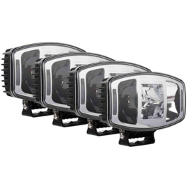 Set 4 stuks LED Verstraler chrome met dagrijverlichting oranje/wit