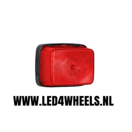 Markerings lamp 12/24 volt vierkant rood