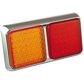 LED achterlicht met chrome rand 12-24v 40cm. kabel