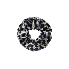 VELVET LEOPARD SCRUNCHIE - GREY