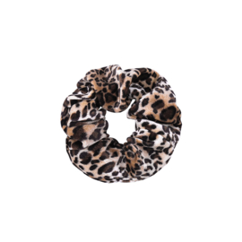 VELVET LEOPARD SCRUNCHIE - BROWN