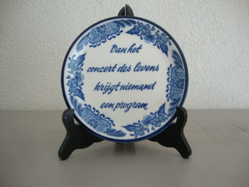 Delfts Blauw Wandbordje Van Het Concert Des Levens