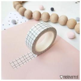 Masking tape - wit met zwart grid