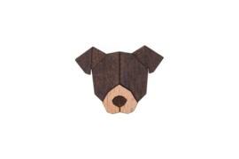 houten broche - brown dog
