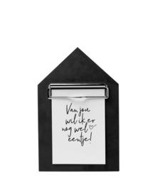 Houten klembord A5/A6 zwart - huisje