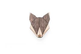 houten broche - Wolf