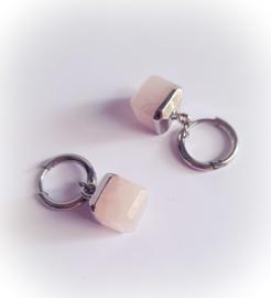 Hoops pink cube  - zilver