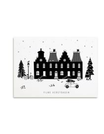 kerstkaart - 'fijne kerstdagen' kersthuisjes