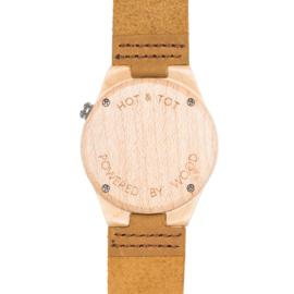 houten horloge met bruine leren band - Amici Castana Hot&Tot