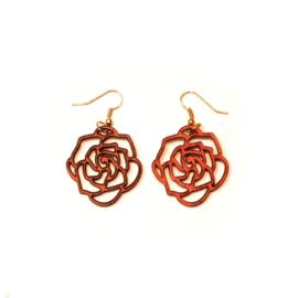 Hangende houten oorbellen - roos mahoniehout klein