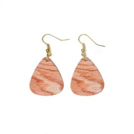 Hangende houten oorbellen - plectrum roze