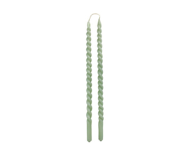 Slim Swirl kaarsen duo - dusty green